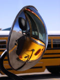 Reflection of school bus. In side view mirror Stock Image