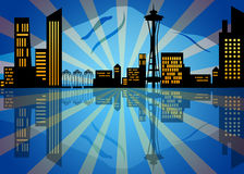 Reflection of Seattle City Skyline at Night Stock Photography