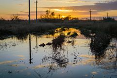 Reflection of the setting sun in a puddle on a dirt road in the Russian field Royalty Free Stock Image