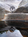 Reflection of Shiva. A small bronze statue of Shiva reflecting in the water Royalty Free Stock Images