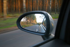 Reflection in the side mirror Stock Photos