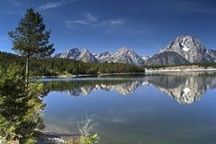 Reflection at Signal Mountain. Reflection of Grand Tetons at Signal Mountain Stock Photo