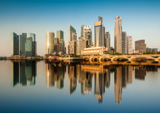 Reflection of Singapore Central Business District (CBD) in the morning. Royalty Free Stock Images