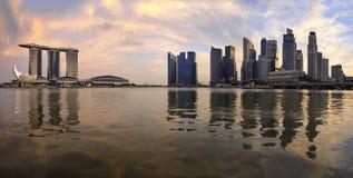Reflection of Singapore Skyline Panorama. Reflection of Singapore Central Business District Skyline Along Singapore River at Sunset Panorama Stock Image