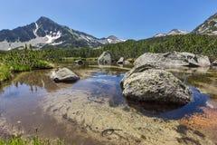 Reflection of Sivrya peak and Banski lakes, Pirin Mountain Royalty Free Stock Photos