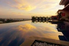 Reflection of sky on Infinity Pool stock photos