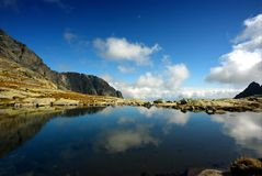 Reflection of sky in mountain lake Stock Photo