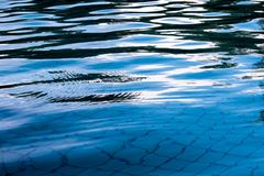 Reflection of sky on the water surface in the pool. Reflection of sky on the moving water surface in the pool stock image