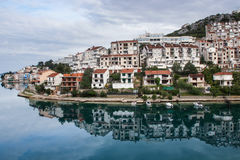 Reflection of the small village Neum in Bosnia-Herzegovina Stock Photos