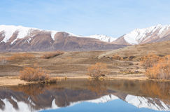 Reflection of snow covered mountains in a small lake. New Zealand Royalty Free Stock Photography