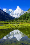 The reflection of snow mountain Stock Photo