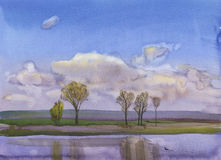 Reflection. Spring. Watercolors from nature stock illustration