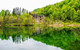 Reflection of spring forest and lake water. In Croatian national park of Plitvice Royalty Free Stock Image