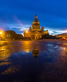 Reflection of St. Isaac& x27;s Cathedral in a puddle Stock Photography