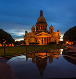 Reflection of St. Isaac& x27;s Cathedral in a puddle Stock Photo