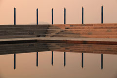 Reflection of stairs in pool Stock Image