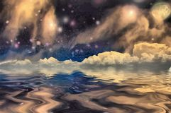 Reflection of stars. Surrealism. Stars and clouds reflects in the water. Some elements image credit NASA royalty free illustration