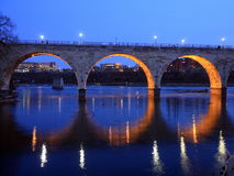 Reflection of Stoen Arch bridge in Mississippi stock images