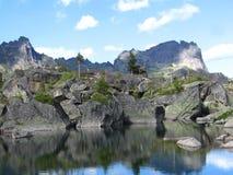 Reflection. The mountain lake in the national park Ergaki, Krasnoyarsk region, Siberia, Russia Royalty Free Stock Photography