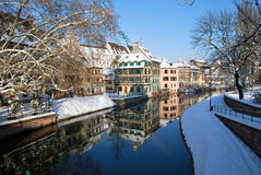 Reflection of Strasbourg during winter Royalty Free Stock Photos