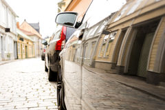 Reflection of street in car Stock Images
