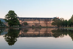 Reflection Stutgart Palace. Picture of the New Palace in Stuttgart with Reflections in the Water Royalty Free Stock Images