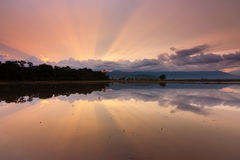 Reflection of sun rays at sunrise in Sabah,Malaysia,Borneo Royalty Free Stock Images