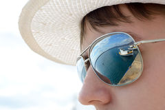 Reflection in sunglasses Stock Photo