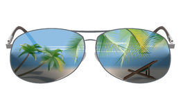 Reflection of Sunglasses. Summer beach landscape with palm trees, beach chair in the reflection of Sunglasses vector illustration