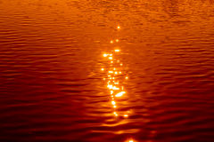 Reflection of sunlight on water surface. Stock Images