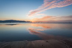 Reflection sunrise or sunset view with orange cloud and blue sky Royalty Free Stock Image