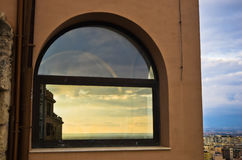 Reflection of a sunset in Cagliari downtown, Sardinia Royalty Free Stock Photography