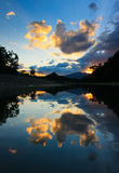 Reflection of sunset and clouds at Sabah, Borneo, Malaysia Royalty Free Stock Photography