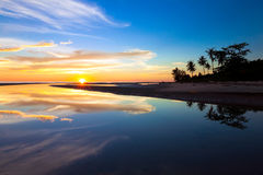Reflection of sunset colors Stock Images