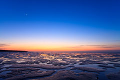 Reflection of the sunset in the ocean Royalty Free Stock Images