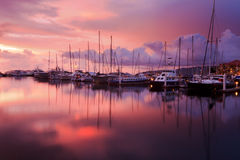 Reflection of sunset with sailboats at Sabah, Borneo Stock Photo
