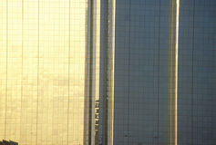 Reflection of sunset on side of Hyatt Hotel in Dallas, TX Royalty Free Stock Photos