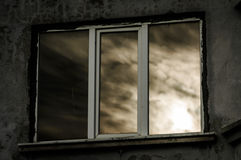 Reflection Of Sunset On Window Glass Royalty Free Stock Photo