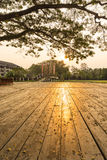 Reflection of sunset upon wooden floor Royalty Free Stock Images