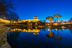 Reflection of Suwon Hwaseong fortres.korea Royalty Free Stock Photos