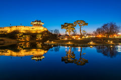 Reflection of Suwon Hwaseong fortres Royalty Free Stock Photography