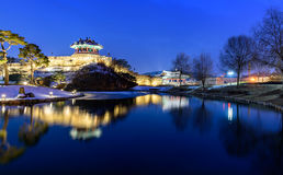 Reflection of Suwon Hwaseong fortres in Suwon. Korea Royalty Free Stock Photo