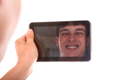 Reflection in Tablet Computer Stock Photo