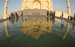 Reflection of Taj Mahal. The mausoleum of Taj Mahal before sunset Royalty Free Stock Images