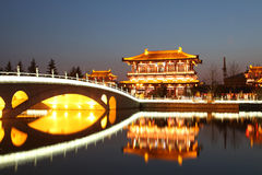 Reflection of the Tang Paradise Center at night, Xi'an, China. Datang furong garden is the ancient city of the famous tourist scenic spot royalty free stock photo