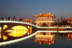 Reflection of the Tang Paradise Center at night, Xi'an, China Royalty Free Stock Photo