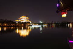 Reflection of the Tang Paradise Center at night, Xi'an, China. Datang furong garden is the ancient city of the famous tourist scenic spot Stock Image