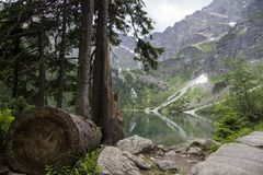 Reflection of Tatra mountain peaks in Morskie Oko lake. Eye of the Sea lake in Tatra mountains, Poland. Polish Tatra Royalty Free Stock Image