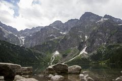 Reflection of Tatra mountain peaks in Morskie Oko lake. Eye of the Sea lake in Tatra mountains, Poland. Polish Tatra stock images