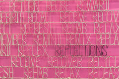 Reflection text on a pink background Stock Image